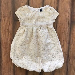Gap Gold Holiday Dress Bubble Party Dress